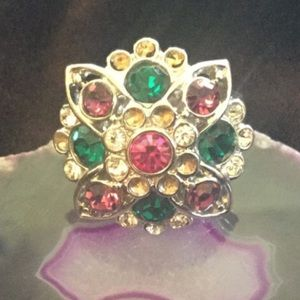 NWOT Multi Precious Gemstone Silver Flower Ring